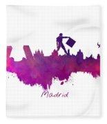 Madrid Skyline City Fleece Blanket