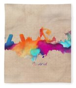 Madrid Skyline  Fleece Blanket