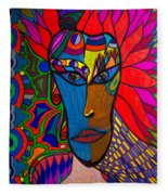 Magdalena On Fire - Mask - Abstract Face Fleece Blanket