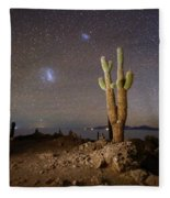 Magellanic Clouds And Forked Cactus Incahuasi Island Bolivia Fleece Blanket