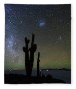 Magellanic Clouds Milky Way And Cactus Silhouette Incahuasi Island Bolivia Fleece Blanket