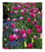 Magenta And White Tulips Fleece Blanket