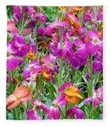 Magenta Floral Pattern Fleece Blanket