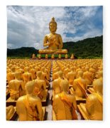 Magha Puja Memorial Buddhist Park Fleece Blanket