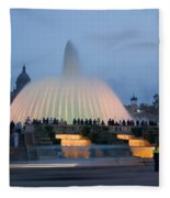 Magic Fountain In Barcelona Fleece Blanket