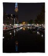 Magical Amsterdam Night - Blue Crown Skyline Fleece Blanket