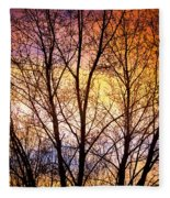 Magical Colorful Sunset Tree Silhouette Fleece Blanket