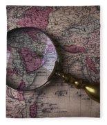 Magnifying  Glass On Old Map Fleece Blanket