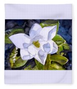 Magnolia 2 Flower Art Fleece Blanket
