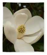 Southern Magnolia Bloom Fleece Blanket