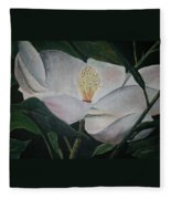 Magnolia Flower Oil Painting Fleece Blanket