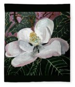 Magnolia Flower Painting Fleece Blanket