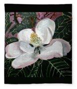 Magnolia Flower Painting Fleece Blanket