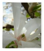 Magnolia Flowers White Magnolia Tree Flower Art Spring Baslee Troutman Fleece Blanket