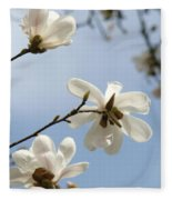 Magnolia Flowers White Magnolia Tree Spring Flowers Artwork Blue Sky Fleece Blanket