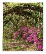 Magnolia Plantation's Live Oaks And Azaleas  Fleece Blanket
