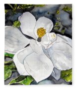 Magnolia Tree Flower Fleece Blanket