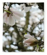 Magnolia Tree Flowers Pink White Magnolia Flowers Spring Artwork Fleece Blanket
