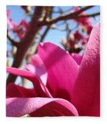 Magnolia Tree Pink Magnoli Flowers Artwork Spring Fleece Blanket