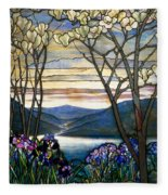 Magnolias And Irises Fleece Blanket