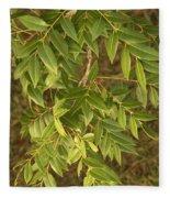 Mahogany Leaves On A Branch Fleece Blanket