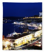 Mahon Harbour At Night Fleece Blanket