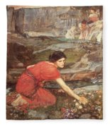 Maidens Picking Flowers By The Stream Fleece Blanket