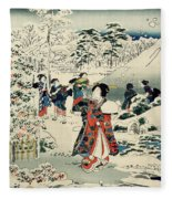 Maids In A Snow Covered Garden Fleece Blanket