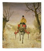 Mail Cart Christmas Fleece Blanket