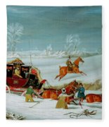 Mail Coach In The Snow Fleece Blanket