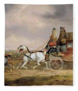 Mail Coaches On The Road - The Louth-london Royal Mail Progressing At Speed Fleece Blanket