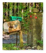 Mailbox On The Rural Country Road Fleece Blanket