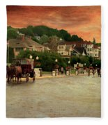 Main Street Mackinac Island Michigan Panorama Textured Fleece Blanket