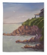 Maine Coast Abode - Art By Bill Tomsa Fleece Blanket