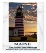 Maine Good Morning West Quoddy Head Lighthouse Fleece Blanket