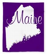 Maine In White Fleece Blanket