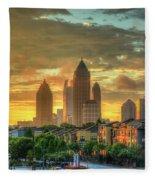 Majestic Gold Midtown Atlantic-station Atlanta Sunrise Art Fleece Blanket