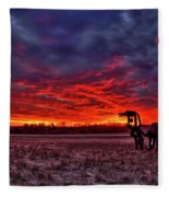 Majestic Red Clouds Winter Sunset The Iron Horse Art Fleece Blanket