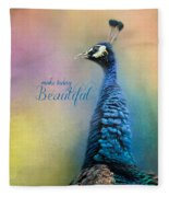 Make Today Beautiful - Peacock Art Fleece Blanket