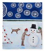 Making A Snowman At Christmas Fleece Blanket