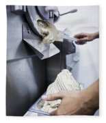 Making Gelato Ice Cream With Modern Machine Fleece Blanket