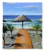 Makry Gialos Beach Fleece Blanket