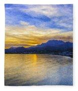 Makrygialos Sunset Digital Painting Fleece Blanket