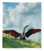 Male American Anhinga  Fleece Blanket