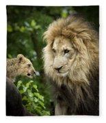 Male Lion And Cub Fleece Blanket
