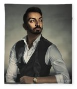 Male Portrait Fleece Blanket