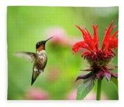 Male Ruby-throated Hummingbird Hovering Near Flowers Fleece Blanket