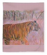 Adult Male Tiger Of India Striding At Sunset  Fleece Blanket