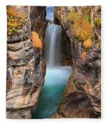 Maligne Canyon Falls Vertical Panorama Fleece Blanket