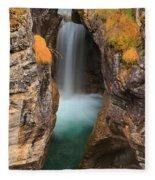 Maligne Canyon Vertical Panorama Fleece Blanket